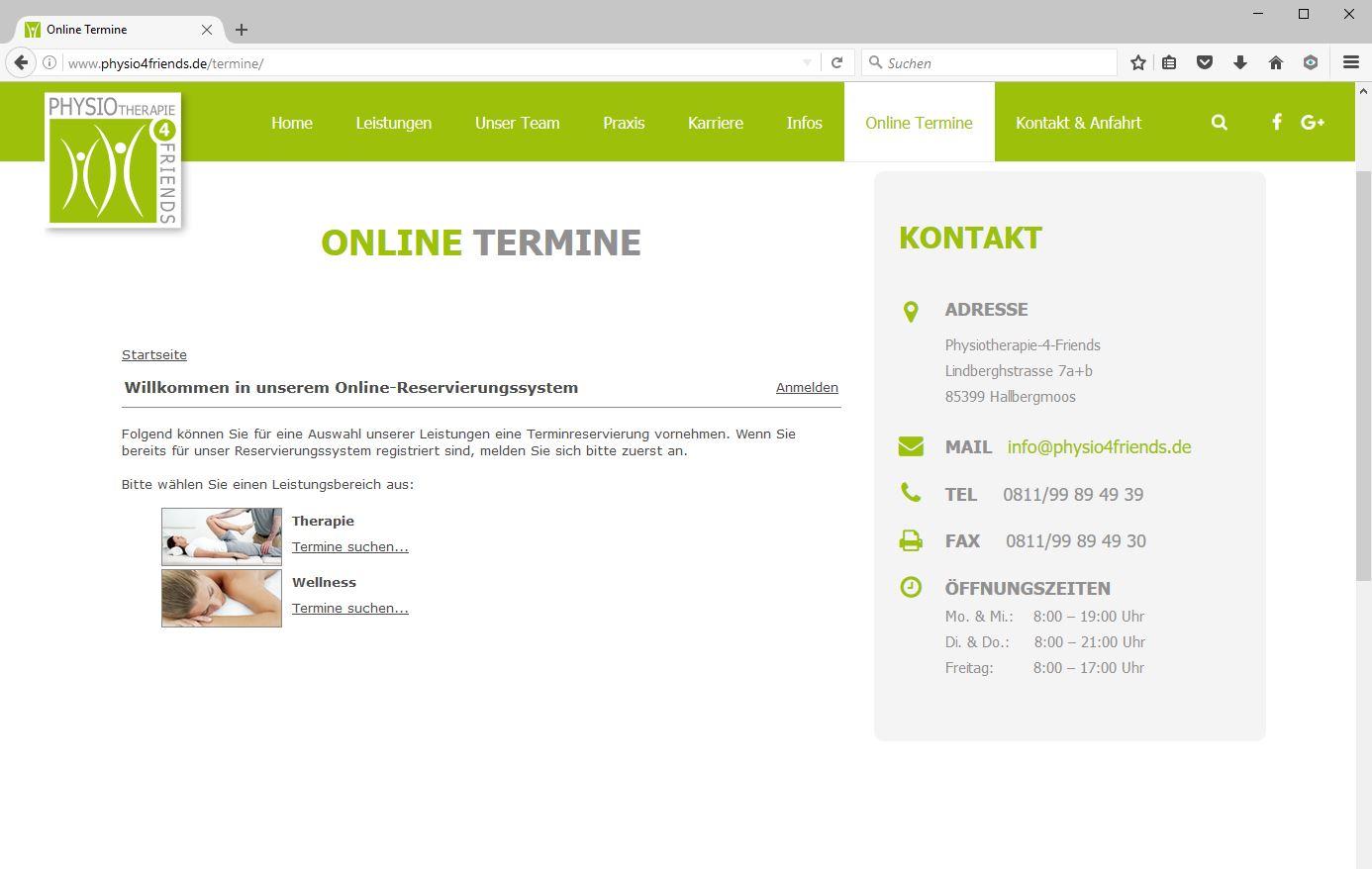 Online-Terminreservierung jetzt freigeschaltet